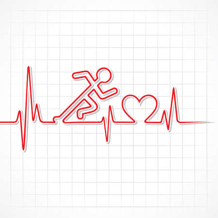 Heartbeat make running man symbol stock vector Vector