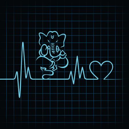 Heartbeat make a lord ganesha and heart symbol stock vector Vector