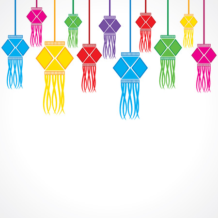 Illustration of diwali greeting background with hanging lamps