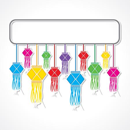 Ilustración de fondo de felicitación de Diwali con las lámparas que cuelgan