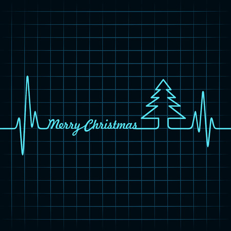 cardiogram: Heartbeat make Merry Christmas text and tree stock vector Illustration