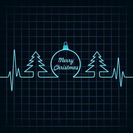 cardiogram: Heartbeat make Christmas symbols stock vector Illustration