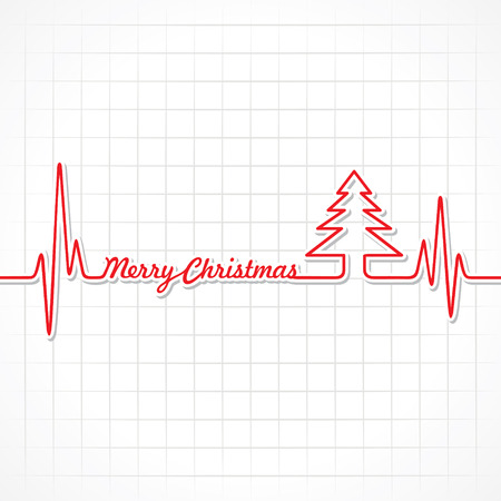 Heartbeat make Merry Christmas text and tree stock vector Vettoriali