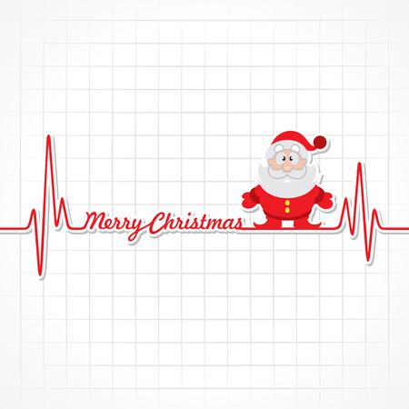 Heartbeat make Merry Christmas text and Santa  stock vector Vector