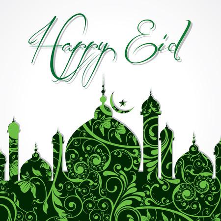 mubarak: Creative Eid greeting vector illustration