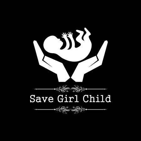 family relationships: save girl child concept stock vector Illustration
