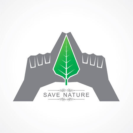global village: Save nature concept with leaf stock vector