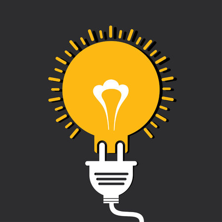 unplugged: Innovation idea concept with bulb and plug stock vector