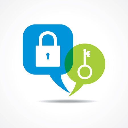 message: Lock and key in message bubble stock vector