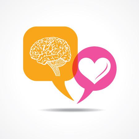 silhouette coeur: Cerveau et le c?ur dans le message bulle Image vectorielle