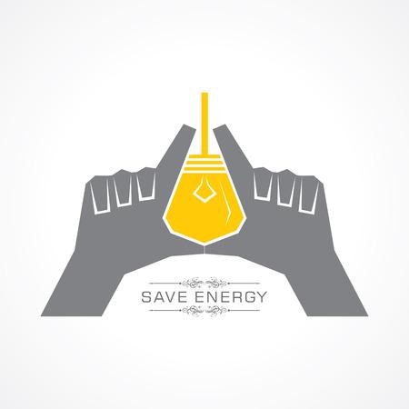 outweigh: Save energy concept stock vector