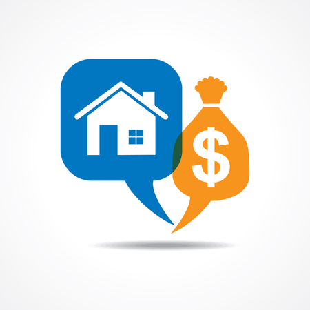 gold house: Home and dollar symbol in message bubble stock vector Illustration
