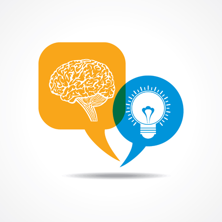 outweigh: Brain and light-bulb  in message bubble stock vector