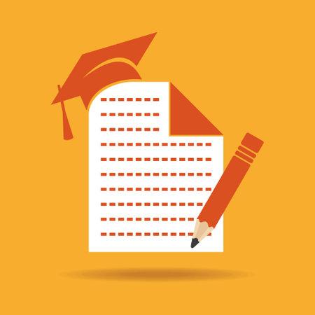 graduacion ni�os: Icono de la educaci�n con el casquillo de la graduaci�n, de notas y l�piz stock vector Vectores