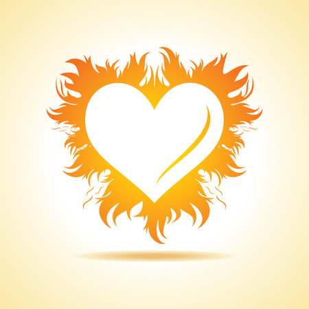 red love heart with flames: Abstract valentine day card with fire heart background, vector illustration Illustration