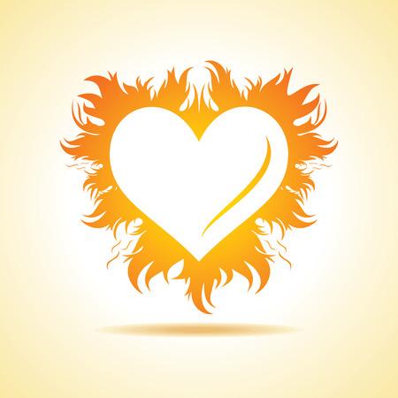Abstrakt Valentinstag Karte mit Feuer Herz Hintergrund, Vektor-Illustration Standard-Bild - 34086707