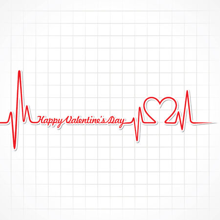 heart monitor: Valentine greeting with heartbeat stock vector Illustration