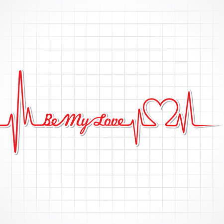 heartbeat: Valentine greeting with heartbeat stock vector Illustration