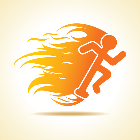 Running man icon with fire stock vector