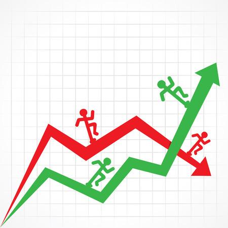 Arriba y Abajo gráfico de negocio con la ejecución de hombre stock vector Foto de archivo - 34351626