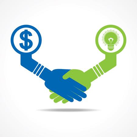 intelligent partnership: businessmen handshake between men having idea and money stock vector Illustration