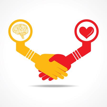 mente humana: hombres de negocios apret�n de manos entre los hombres que tienen el cerebro y el coraz�n stock vector