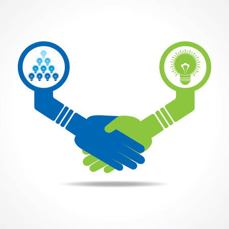 outweigh: businessmen handshake between leadership and teamwork stock vector Illustration