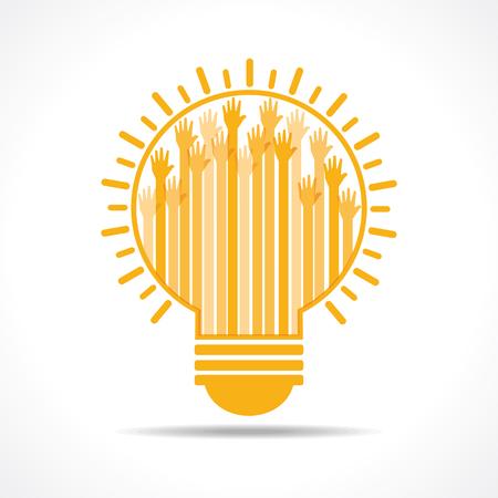 participacion: Amarillo levant� la mano a la luz de bulbo Imagen vectorial Vectores