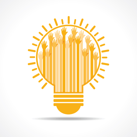 participate: Yellow raised hand in the light-bulb stock vector