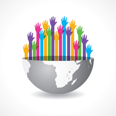global communication: Colorful raised hand on the half earth symbol stock vector