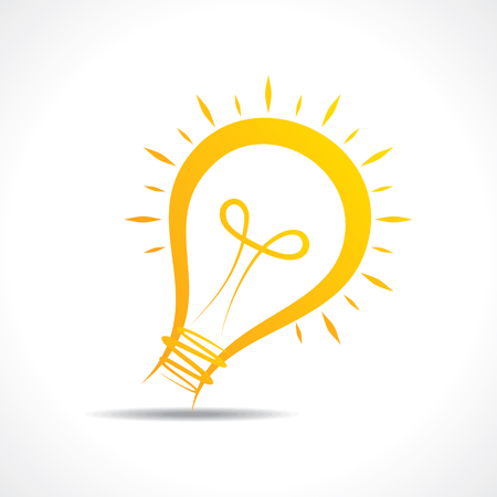 lightbulb icon: Abstract yellow light-bulb  icon stock vector