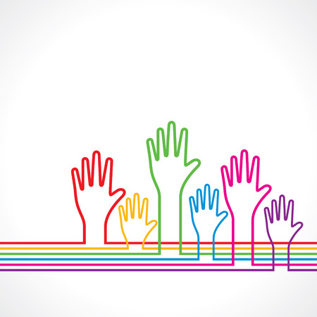 hand drawing: Colorful hands background