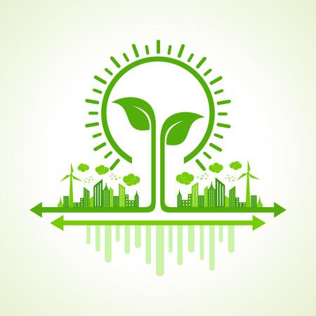 エコロジー コンセプト - 葉と電球とエコ都市の景観