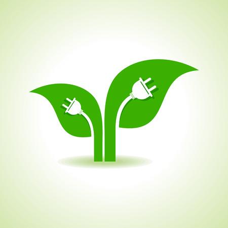 plug electric: Ecolog�a Concepto - Hoja con enchufe el�ctrico