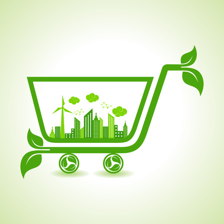 Ecology Concept - eco cityscape with shopping cart Illustration