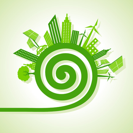water mill: Ecology Concept - eco cityscape with spiral design