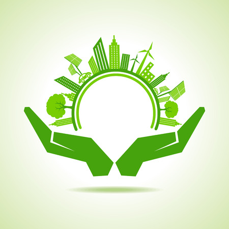 green buildings: Ecology Concept - eco cityscape with hands