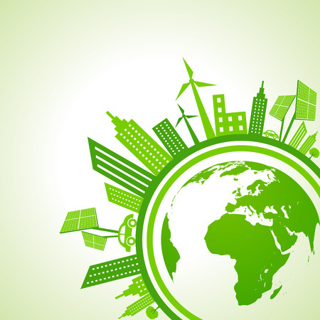 save planet: Ecology Concept - eco cityscape with earth