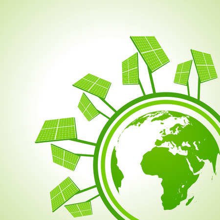 the solar: Ecology Concept - Solar panel with earth
