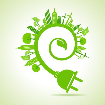 sostenibilidad: Ecología Concepto - paisaje urbano eco con la hoja y el enchufe eléctrico Vectores
