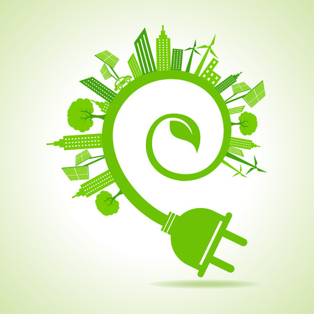 green power: Ecology Concept - eco cityscape with leaf and electric plug