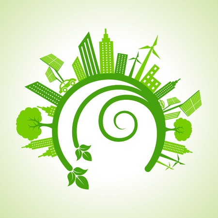 エコロジーのコンセプト - エコ都市の景観  イラスト・ベクター素材