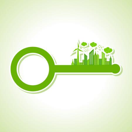 llaves: Ecolog�a Concepto - paisaje urbano ecol�gico con clave stock vector
