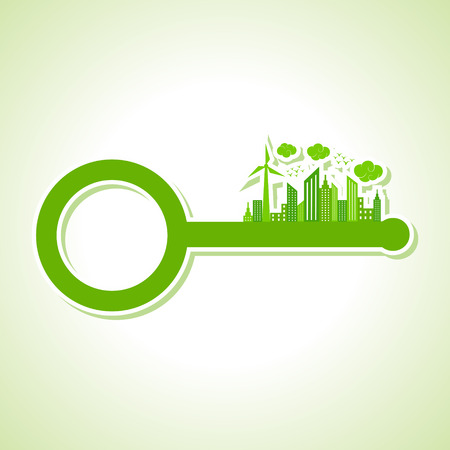 abstract mill: Ecology Concept - eco cityscape with key stock vector