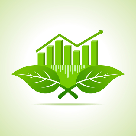 onward: Ecology Concept - business graph with leaf