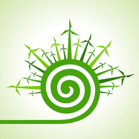 spiral vector: Ecology concept - wind mill with spiral design stock vector
