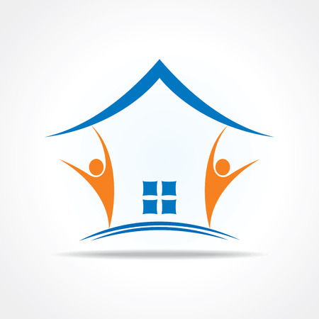 house rental: People icon make a home icon stock vector