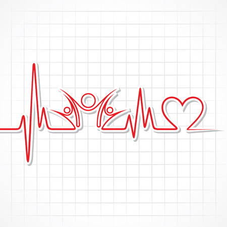 heartbeat: Heartbeat with a unity symbol in line stock vector