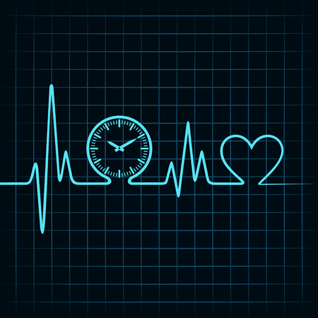 pulsation: Heartbeat with a clock symbol in line stock vector