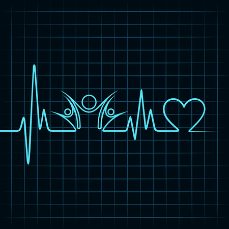 heartbeat line: Heartbeat with a unity symbol in line stock vector